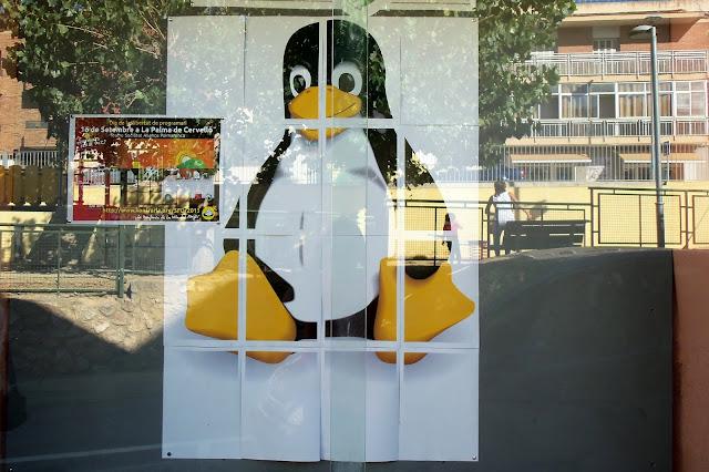 Integraci&oacute; entre el programari lliure (Tux, el ping&uuml;&iacute; logo de Linux) i La Palma de Cervell&oacute;. <b>Autor: Konfrare Albert</b>