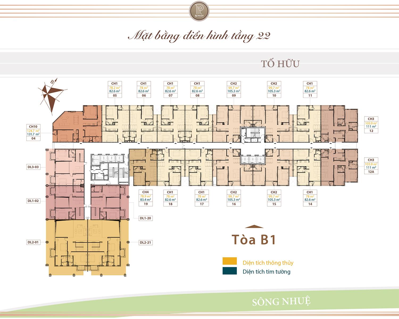 Mặt bằng điển hình tầng 22 chung cư Roman
