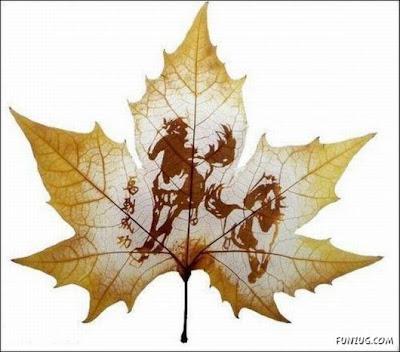انقش صــورة تحــب الشجــر.. غاية الروعة leaf_painting_art_08
