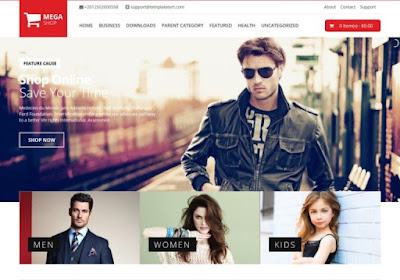 Mẫu template blogspot bán hàng free (Mega Shop Blogger Template)