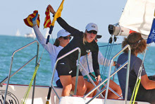 Stephanie Roble sailing match race off Chicago