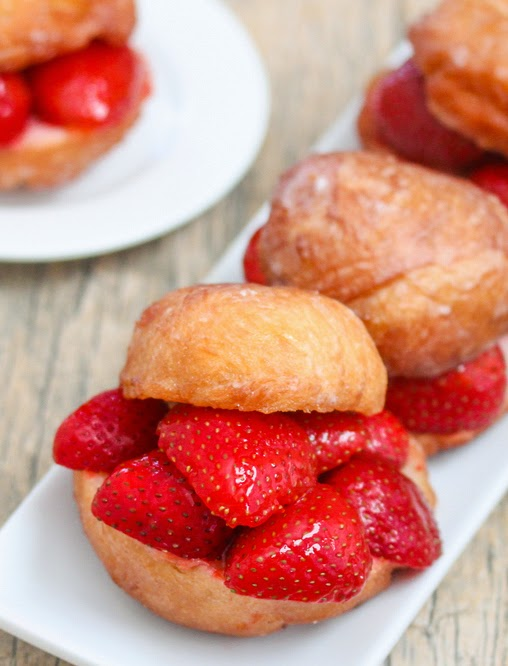 close-up of a Strawberry Donut