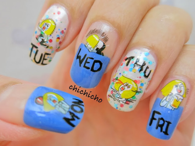 My Weekly Mood Cycle Nail Art - Line Naver Sticker Water Transfer Decal. James, Brown, Cony, Moon