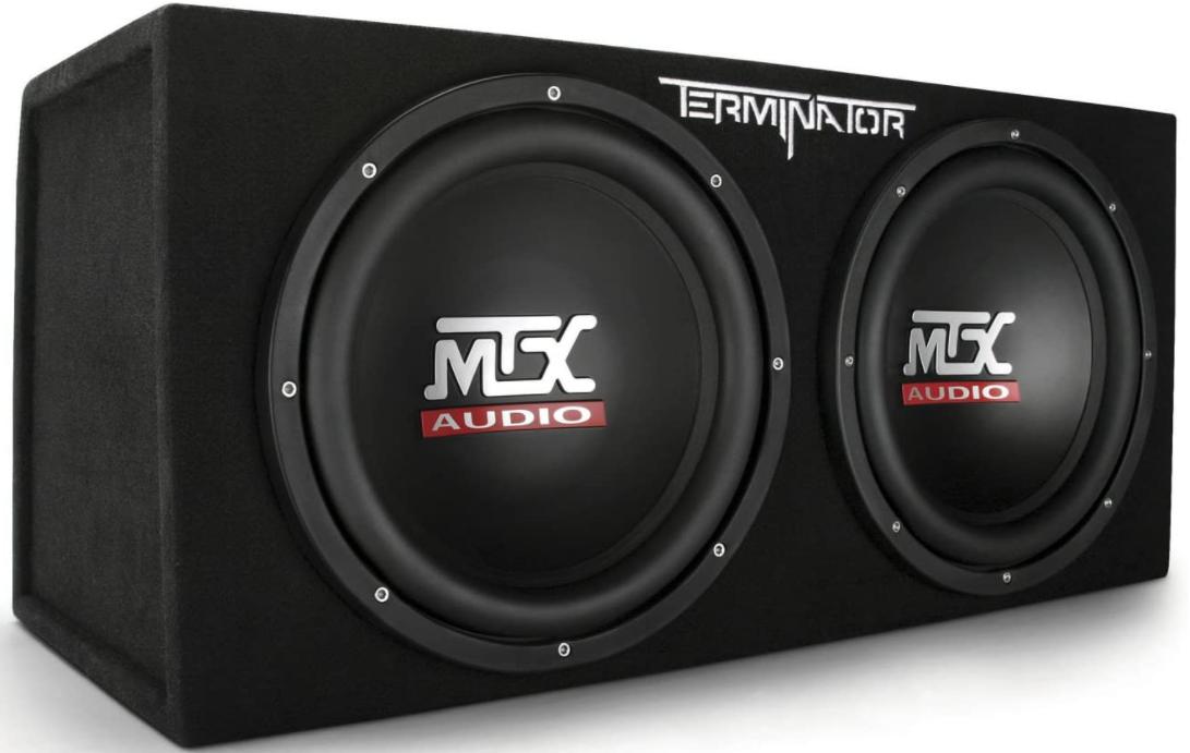 3. MTX Audio Terminator TNE212D Dual 12″ Subwoofers