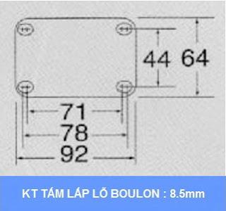 kích thước tấm lắp Khóa sàn xe đẩy hàng Colson Mỹ 3.5