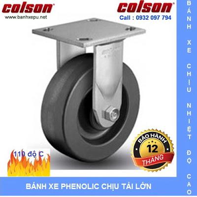Bánh xe Phenolic chịu nhiệt càng cố định phi 150mm Colson caster Mỹ