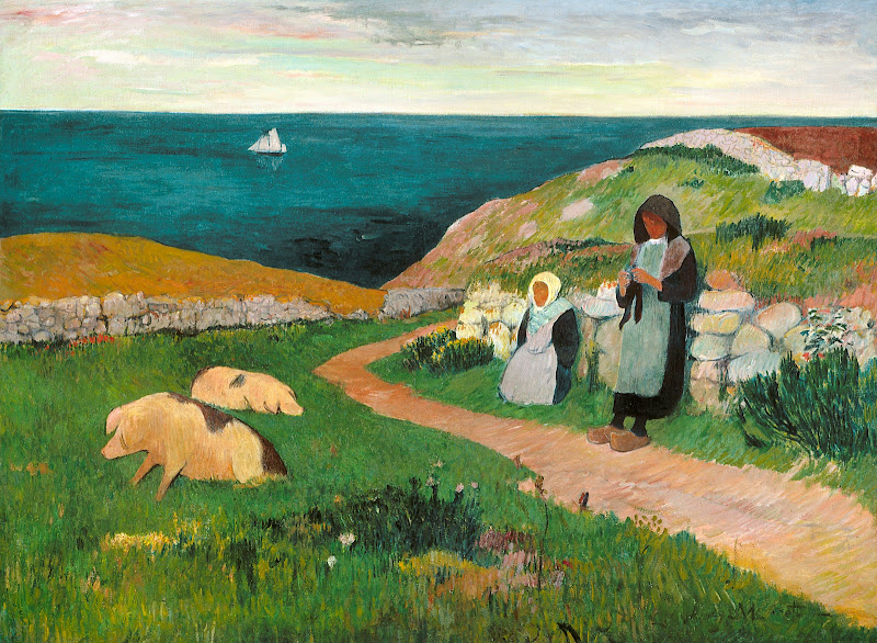 Henry Moret - Young Breton Girls in the Field, c. 1890-1891