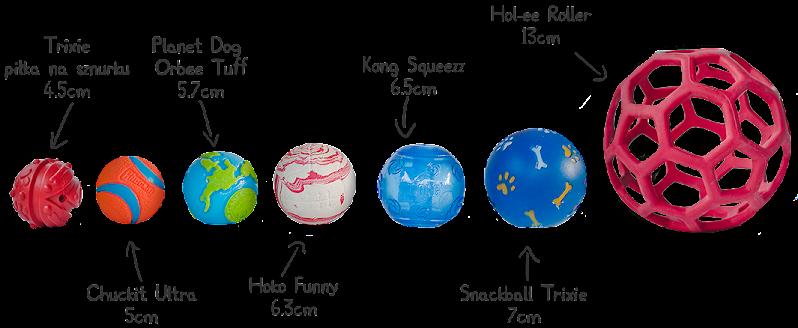 porównanie wielkości piłek