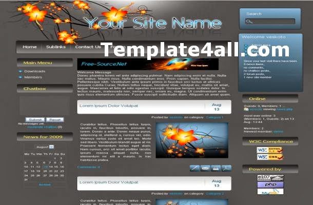 Abstract Grey Blue Floral E107 Theme Template