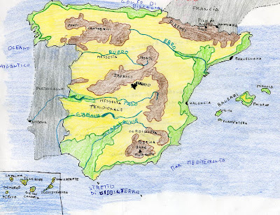 Cartina Della Spagna Geografica.Carta Muta Della Spagna Laceprof Materiali