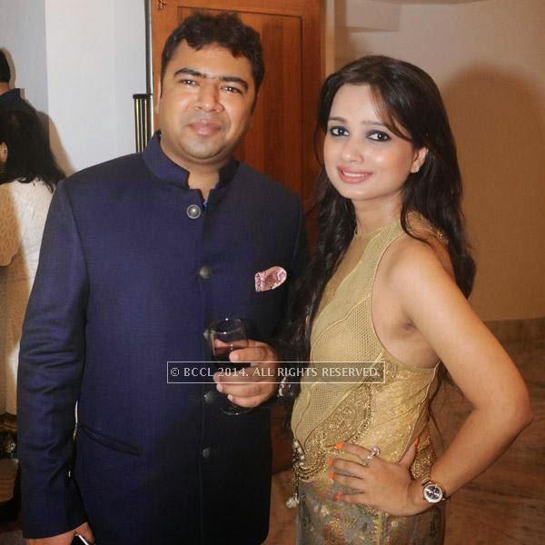 Pradeep Goel with wife Sonia at Gaurav Gupta's show, held in Delhi.