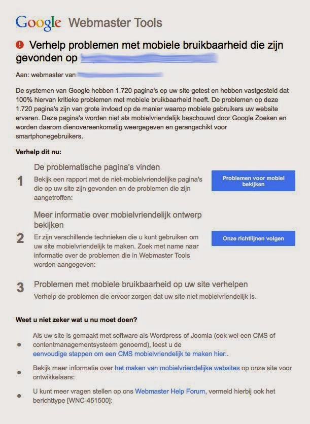 Problemen met mobiele bruikbaarheid e-mail van Google