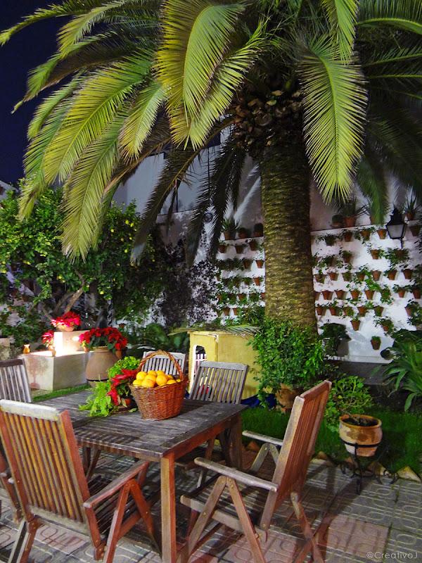 mesa, limones, palmera, madera, flor de pascua, flores, jardín, cesped, macetas, noche, patio, navidad