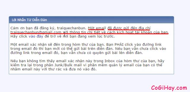 yêu cầu xác thực email đăng ký diễn đàn làm cha mẹ