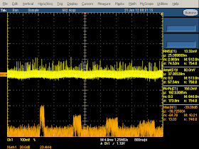 High frequency oscilloscope trace from Motorola phone charger