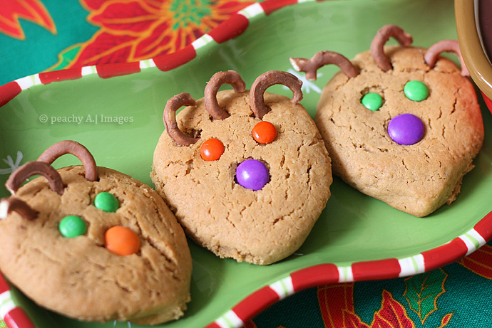 Peanutbutter Reindeer Cookies With Chocolate Pudding Dip