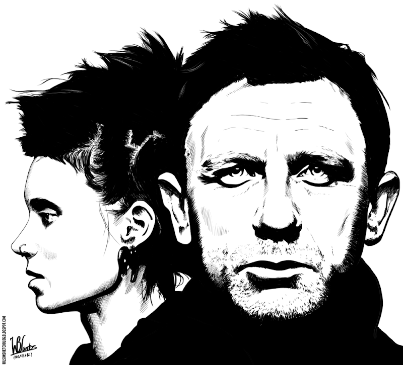 Ink drawing of The Girl with the Dragon Tattoo, using Gimp 2.8.