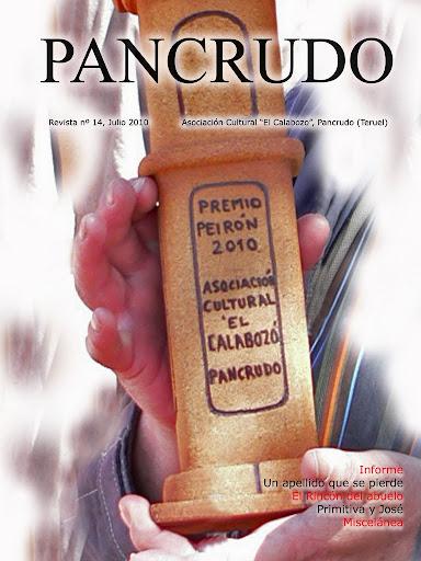 Portada Revista Pancrudo nº14 (2010). Premio Peirón de la Mancomunidad del Altiplano, concedido a la A.C. El Calabozo (Pascual Tolosa Sancho)