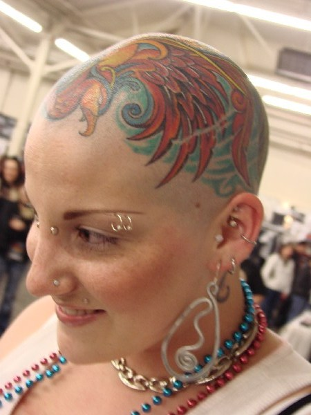 bald short hair girls tattoo in head women
