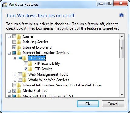 Install ftp server in Windows 7/ Server 2008