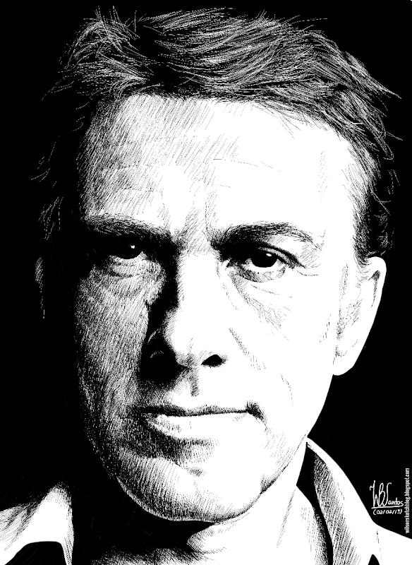 Ink drawing of Christoph Waltz, using Krita 2.5.