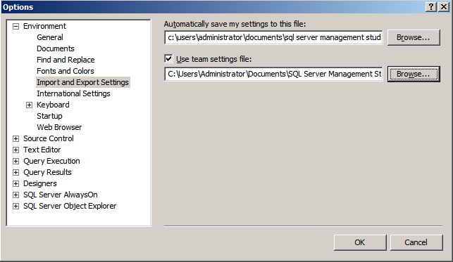 SSMS Import Settings