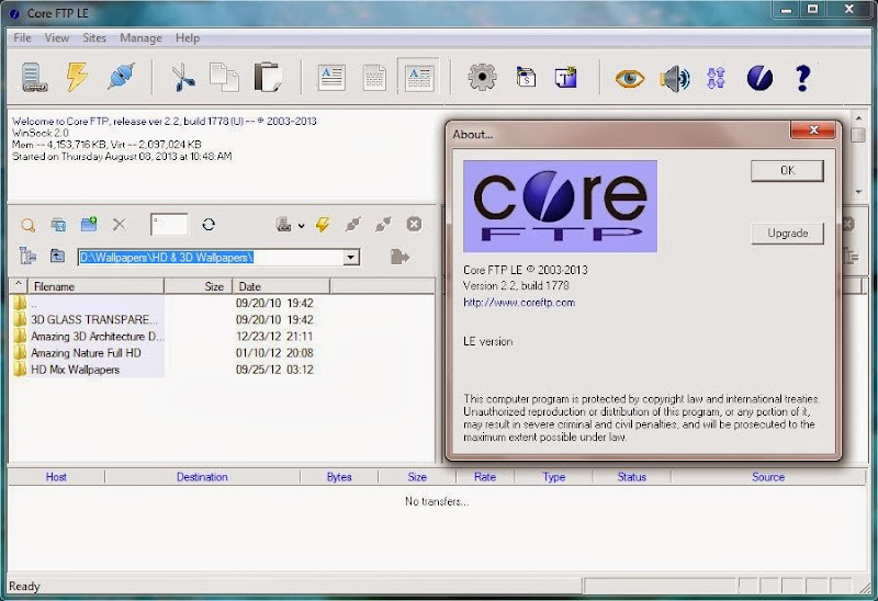 Screenshot of Core FTP LE v.2.2 Build 1778 Client File Transfer PC Software Free Download at Alldownloads4u.Com