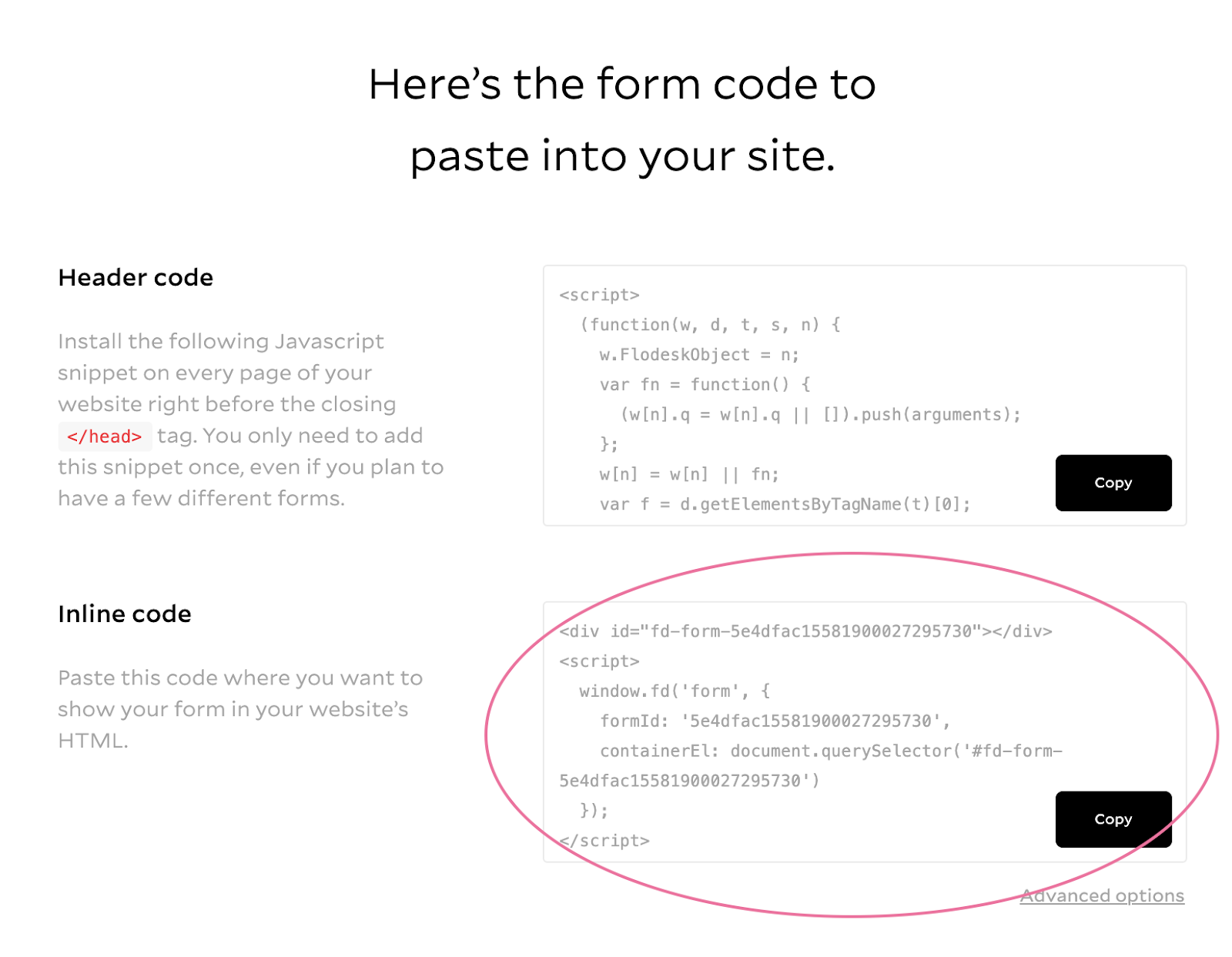 Add inline form embed code to site on Showit