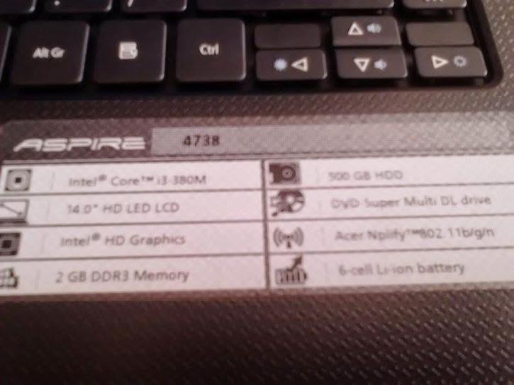 [WTS] Acer Aspire 4738 (Core i3-380M, 2GB RAM, 500GB HDD) - BOGOR