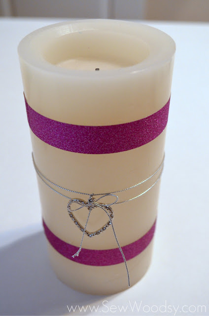 DIY Sparkle Tape Flameless Candle from SewWoodsy.com