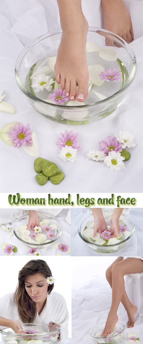 tock Photo: Spa composition. Woman hand, legs and face