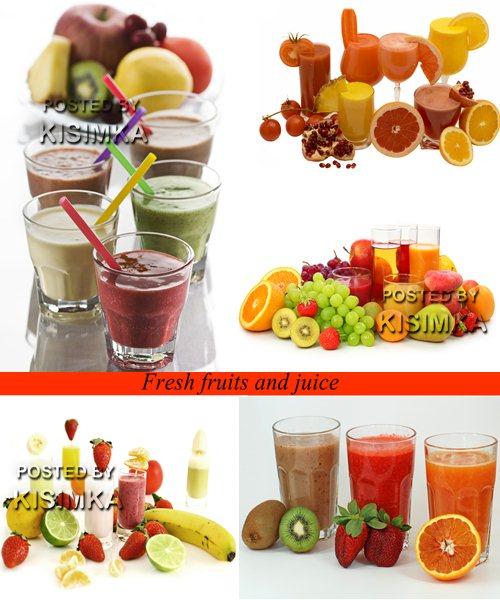 Stock Photo: Fresh fruits and juice