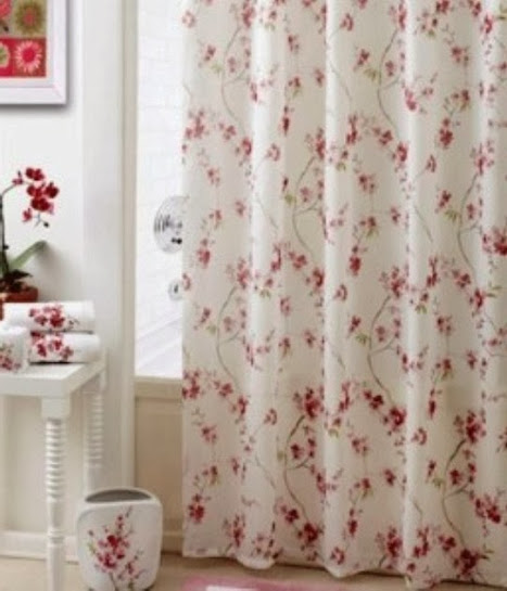 Shower Curtains cherry blossom shower curtains : Cherry Blossom Fabric Shower Curtain With Elegant Finishing Touch
