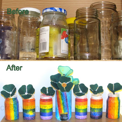 Decoupage rainbow bottles, Pot-o-Gold Luminary