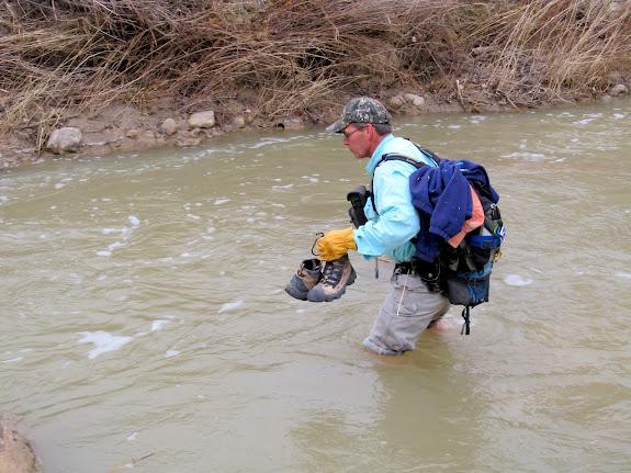 Alan crossing in relatively deep water