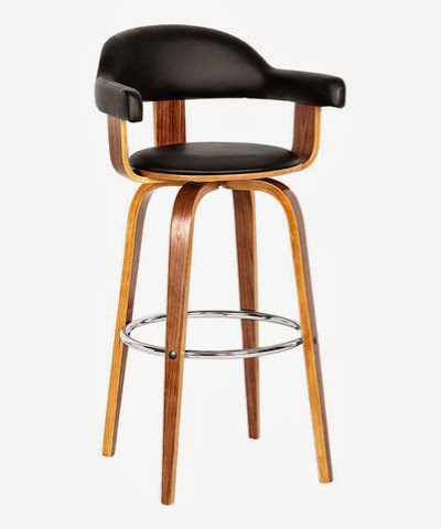 Black and walnut bar chair stool with arms