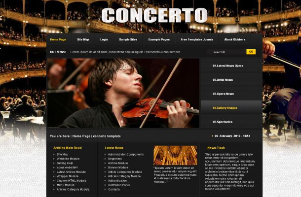 Music Black Brown Concert Joomla Theme Template