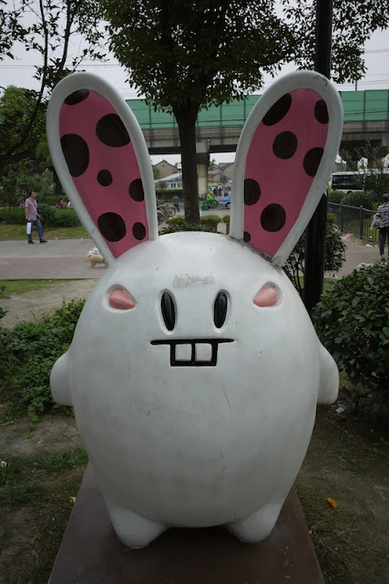 large statute of a animated rabbit