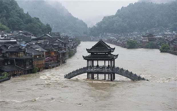 Ancient Chinese town's Ming dynasty buildings under water