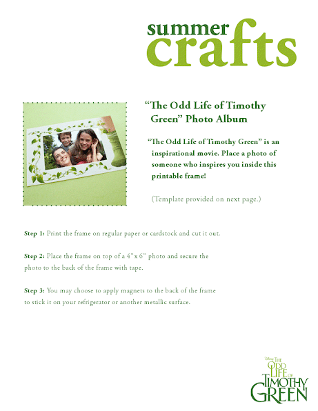 Disney's The Odd Life of Timothy Green printable photo frame craft