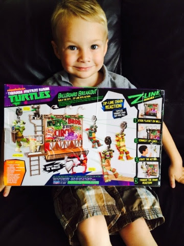 Blake Clement with the Teenage Mutant Ninja Turtles Z Line Ninja Deluxe Zipline Playset - Billboard Breakout