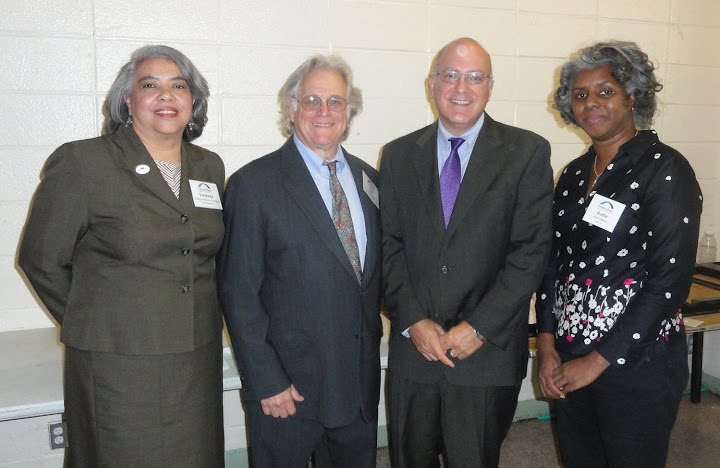 From left to right: Love Gospel Assemply President/CEO Vanessa Robinson-Santiago, Federation President/CEO Cliff Rosenthal, NYC DCA Commissioner Jonathan Mintz, and Union Settlement FCU CEO Audia Williams at the Borrow & Save Program Launch.