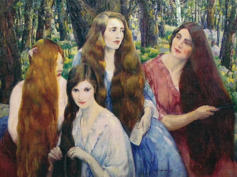 Leon Kroll - Four Girls Combing Their Hair