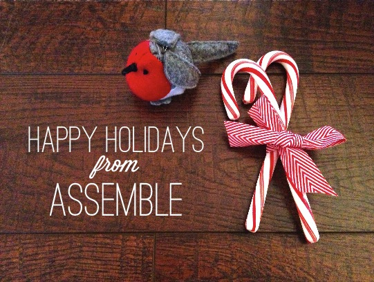 happy holidays from assemble candy canes and felted bird