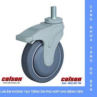Bánh xe đẩy cao su càng nhựa trục ren chịu tải (70~100kg) www.banhxepu.net