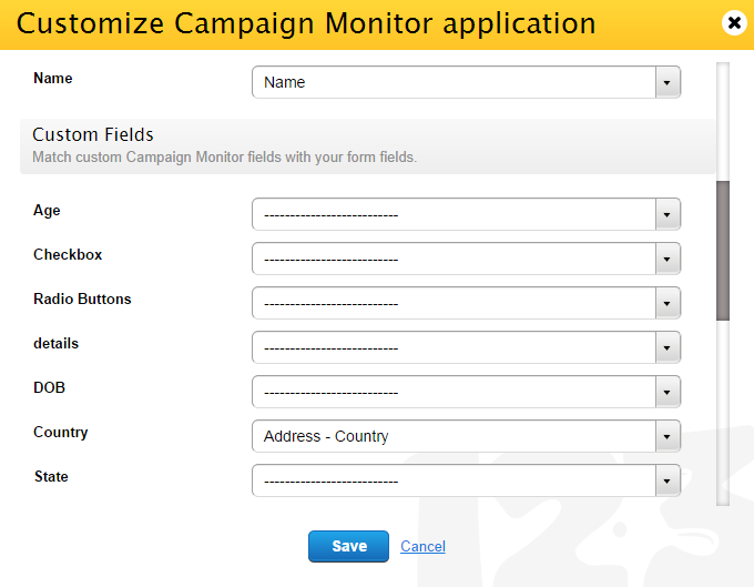 customize 123FormBuilder Campaign Monitor integration