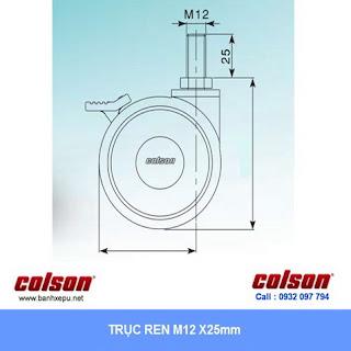 kích thước trục ren cọc vít ty ren Bánh xe đôi cóc vít có khóa CGT Colson Caster Mỹ phi 75 | CGT7554BK