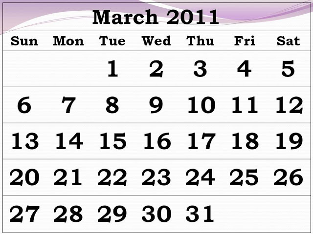 printable calendars for march 2011. Entire month march from