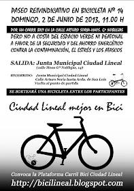XIV Paseo reivindicativo por un Carril Bici en Ciudad Lineal, domingo 2 de junio 2013