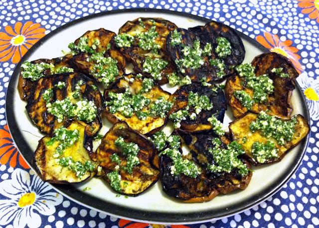 Grilled Sicilian Eggplant with Pesto Feta Sauce
